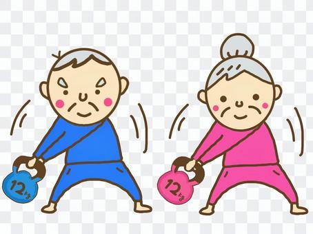 Elderly muscle training kettlebell