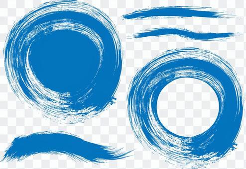 藍色藍色書法日本書法框架框架背景顏色圓