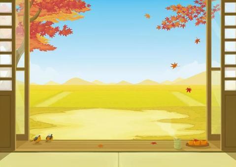 秋の縁側風景