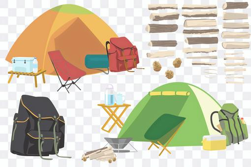 A set of firewood drawn separately from camping equipment