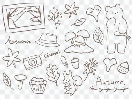 手描き 秋のお出かけセットA くまりす茶