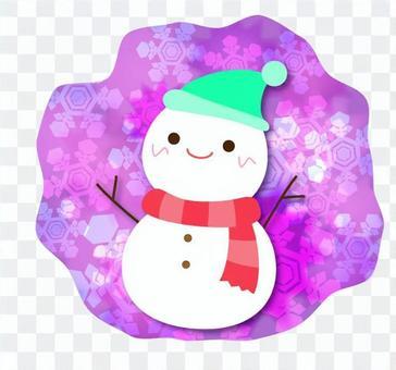 可愛的雪人_圓形背景
