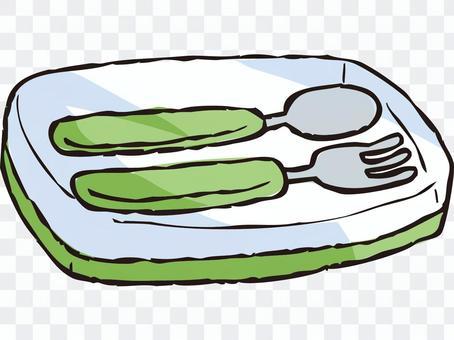 勺子/叉子套装(绿色)