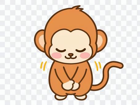 猴子鞠躬的插圖素材