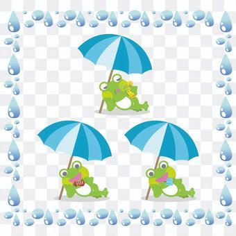 青蛙例證設置在遮陽傘下