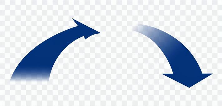 箭頭向上向下紅色藍色對角線上下透明