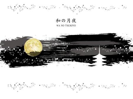 Japanese style moonlit night line