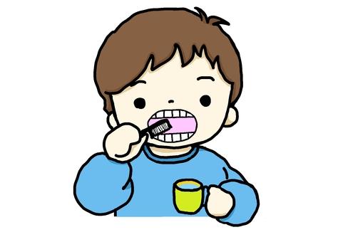 Illustration of a boy brushing his teeth