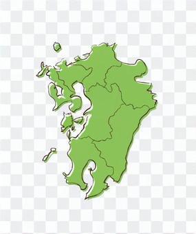 九州地圖手寫色