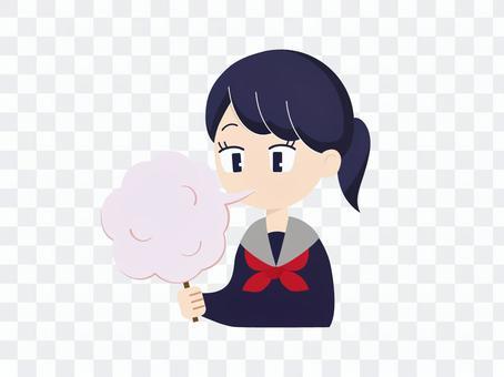 吃棉花糖的女孩