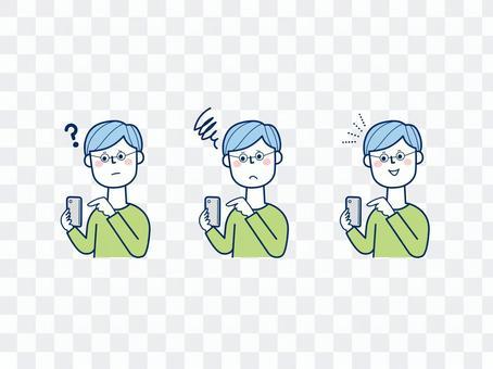 男性2_持有具有各種面部表情的智能手機