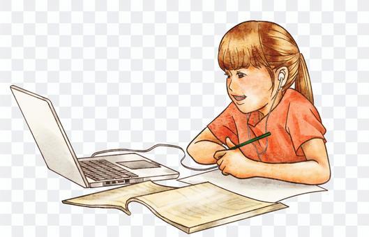 Children taking online lessons