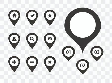 地圖圖釘圖標變化黑色