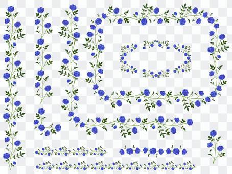 青いバラのラインセット