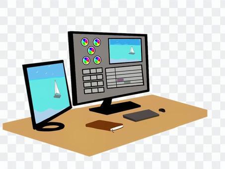 視頻創作期間的辦公桌
