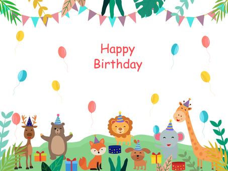 Birthday card celebrated by cute animals
