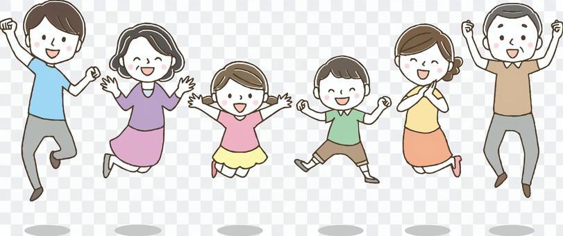 ジャンプするかわいい3世代家族/手描き