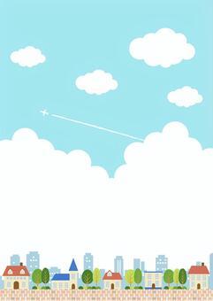 垂直在藍藍的天空中的城市背景
