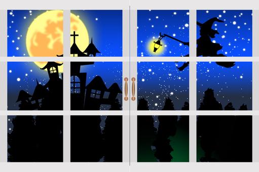Halloween Material Postcard B Window Frame