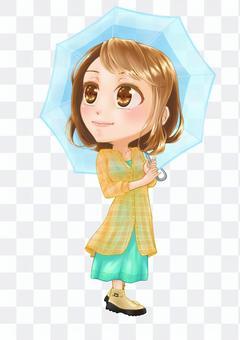 一個人的女人拿著雨傘,抬頭看著天空的插圖