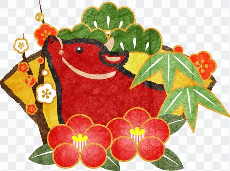 赤丑と松竹梅&椿の年賀状素材