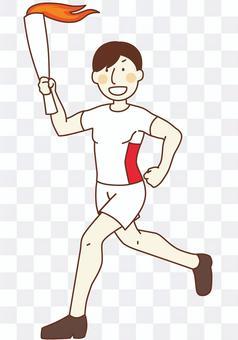 聖火賽跑者的插圖