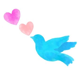 Blue bird and heart