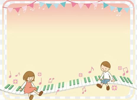 鋼琴和兒童的背景