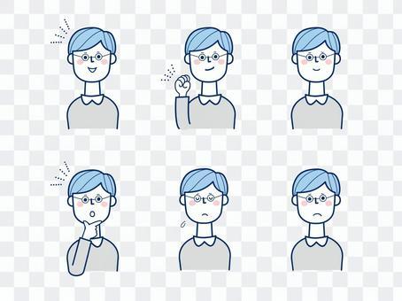 男性2_各種面部表情