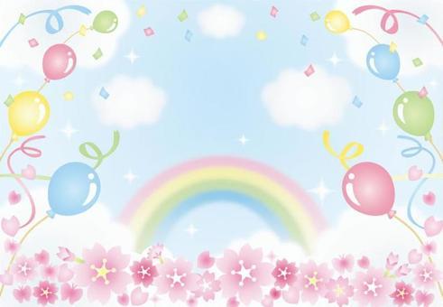 櫻花和氣球的天空插圖