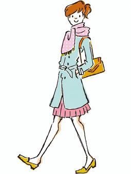 春季外套的女人