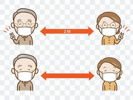 老年人採取預防感染的距離