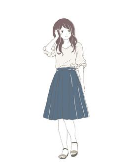 Girl in long skirt full body front