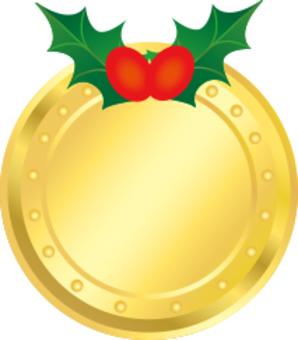 Christmas medal frame gold