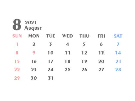 2021年日曆八月白色②