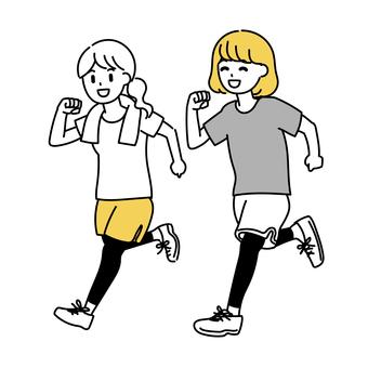 兩個女人一起跑