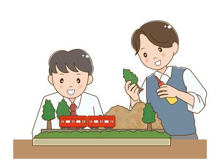做模型鐵路的男學生