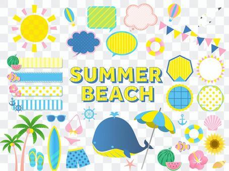 夏季/海灘/天空,雲彩和海洋框架