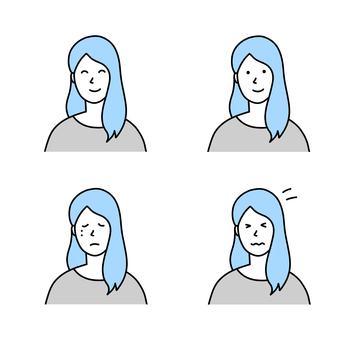 長發女性的各種面部表情插圖