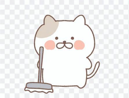 印花布貓清潔