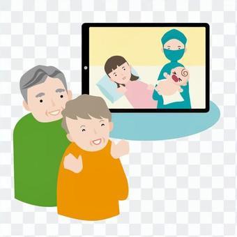 祖父母通過監視器看嬰兒