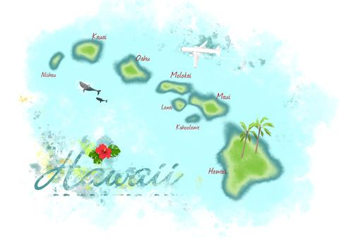 插圖地圖(夏威夷2/透明背景)