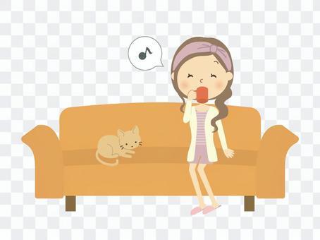 Woman sitting on the sofa 5
