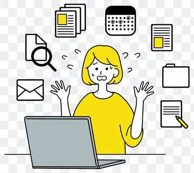 PC,忙碌,女性,乾淨的設計,黃色