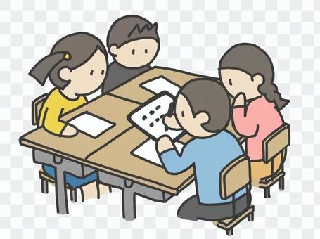 Children studying in groups