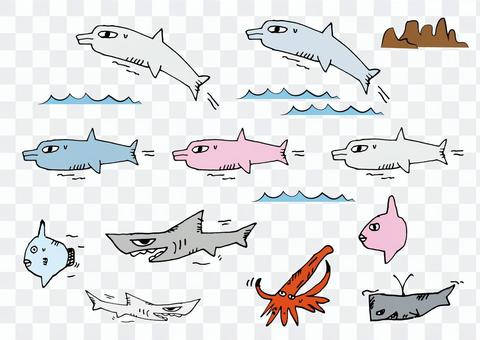 海豚和其他_手寫