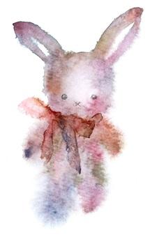 仿古風格兔子透明水彩手繪出血