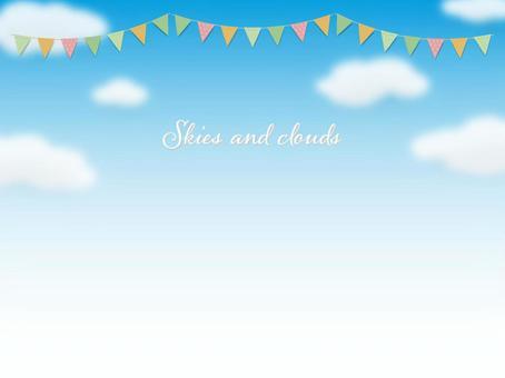 藍藍的天空和三角形標誌背景圖