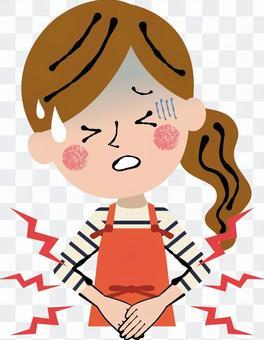 圍裙女性胃疼傷上半身