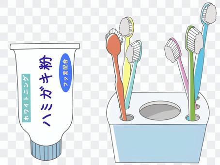牙膏和牙刷